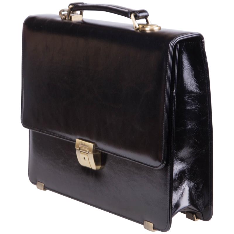 c25b4881b15e ... Портфель-папка «Калипсо», натуральная кожа, с ремнем, черный ...
